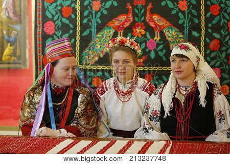 Belarus, Gomel, Folk Museum, 26.11.2016 year. Reconstruction of the old wedding ceremony. The bride and groom in traditional costumes.Authentic wedding.National wedding ceremony