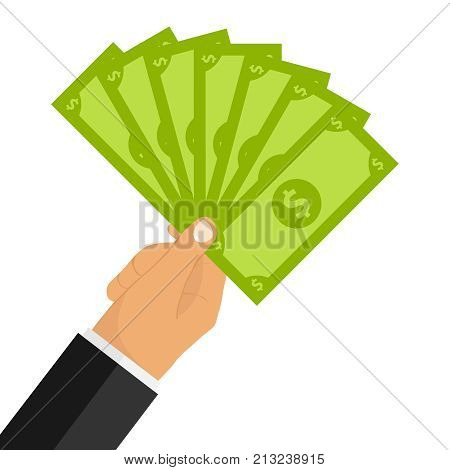The hand holds the fan out of money. A fan of banknotes in the man's hand. Flat design vector illustration vector.