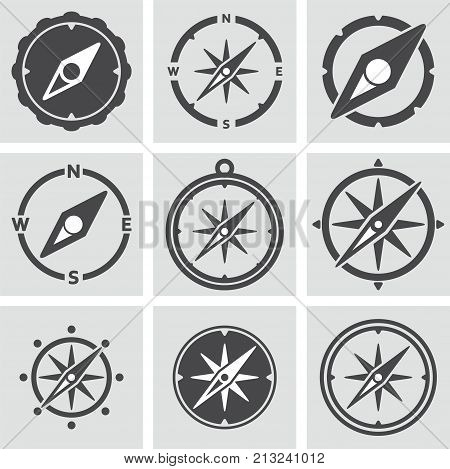 vector collection of compass icons for map illustrations. adventure direction or guidance compass symbols