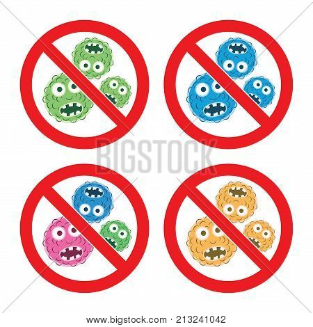 vector set of stop bacteria icons isolated on white background. stop virus warning sign. no microbes antibacterial symbol. protection from epidemic spreading of microorganism virus or germs