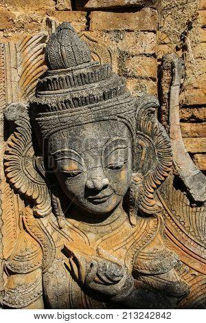 The figure of the stone in the ruins Shwe Inn Dain Pagoda Indein Myanmar (Burma)