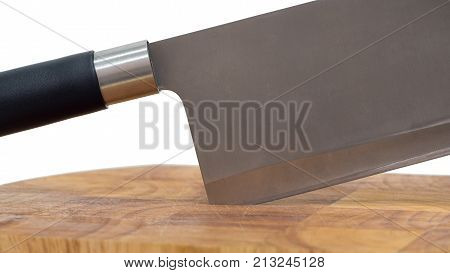 Chopping board block and Meat cleaver large chef's knife on white background, closeup