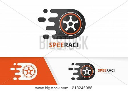 Vector fast wheel logo combination. Speed tire symbol or icon. Unique car and digital logotype design template.