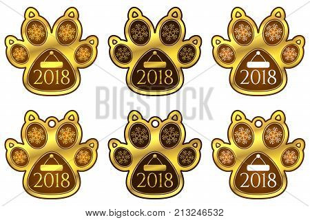 New Year Sticker Of Dog Paw. Set Of Stickers