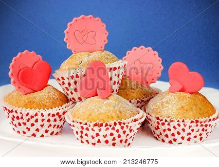 Sponge cakes with hearts. Festive homemade cakes