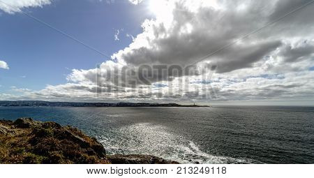 Partial View Of The Ria De La Coruna On The Spanish Atlantic Coast, With A Sky Of Clouds And Sun