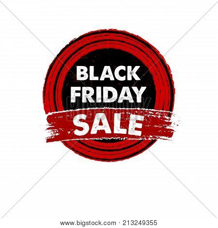 black friday sale banner - text in red black drawn circle label business seasonal shopping concept vector