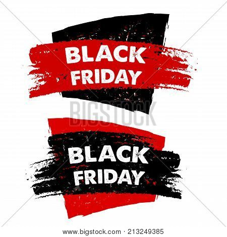 black friday sale banners - text in red black drawn labels business seasonal shopping concept vector