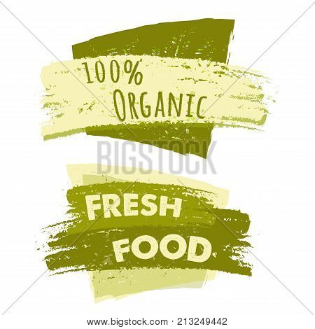 100 percent organic and fresh food banners two green drawn text labels business eco concept vector