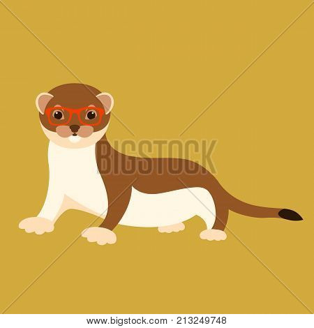 weasel in glasses vector illustration flat style front side