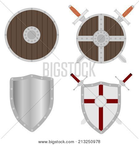 Shield shield with swords a set of medieval shields and swords. Flat design vector illustration vector.