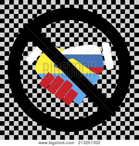 No ukraine and russia friendship prohibition and restriction restrict and stop agreement. Vector illustration