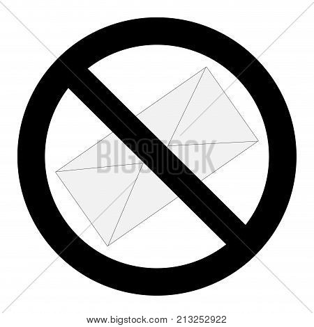 No spam letter sign. Stop spam mail no spamming vector illustration