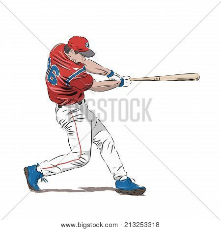 Baseball player in red jersey isolated vector illustration. Batter swinging with bat. Team sport