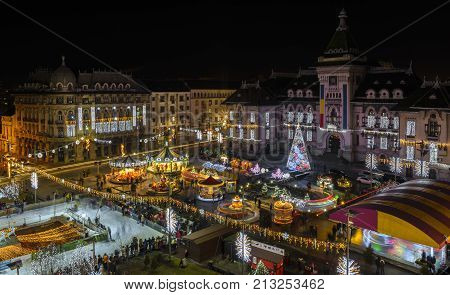 Night view with Craiova in Christmas days on December 27 2016 Dolj county Romania.