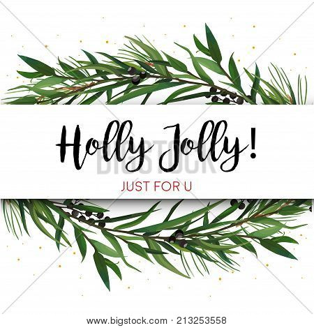 Vector greeting card invite with Pine tree greenery branches Eucalyptus Green leaf Wreath & black berry border frame. Merry cute watercolor illustration. Christmas New year text space design layout