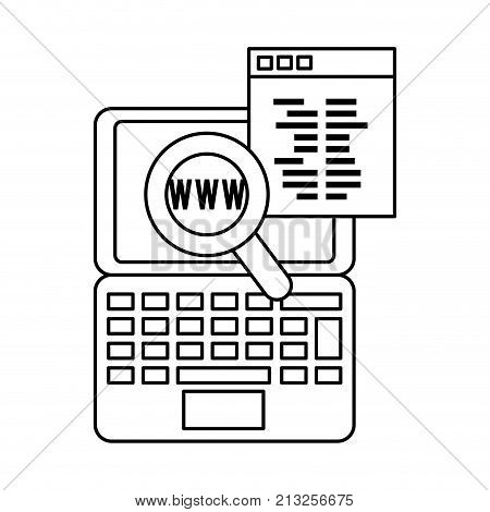 Lupe and laptop of seo search and engine theme Isolated design Vector illustration