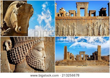 Persepolis is the capital of the ancient Achaemenid kingdom. Sight of Iran. Ancient Persia. Blue sky and clouds background. Composite image.