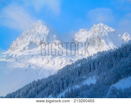 Winter snow mountains peaks in French Alps, Chamonix
