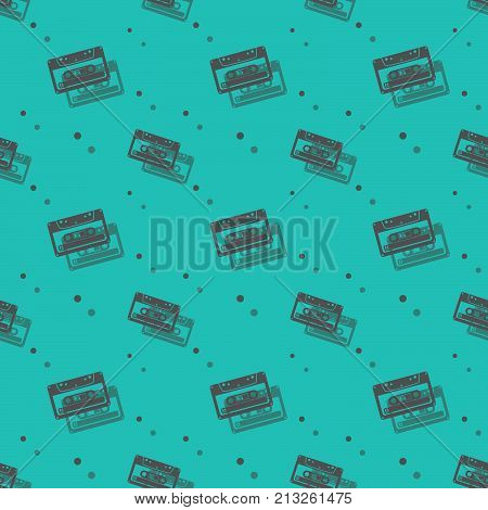 Audio Analogue Retro Cassette Seamless Shadow Pattern
