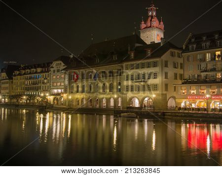 SWITZERLAND LUCERN - MARCH 19 2015: Lucerne City View With River Reuss