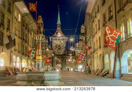 SWITZERLAND BERN - MARCH 27 2015: Long exposure of clock tower in Bern Switzerland.