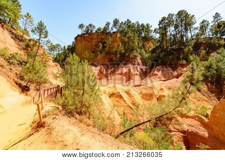 View of the ocher path in the park of Roussillon France