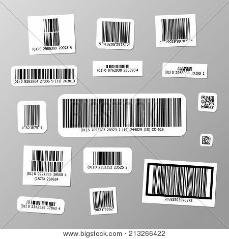 Big set of realistic different barcodes stickers
