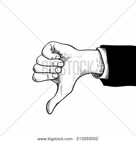Businessman hand thumbs down Hand in suit showing thumbs down isolated on white background with engraving style-Hand drawn Vector Illustration.