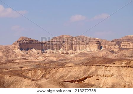 Eroded scenic rocks in Negev desert mountains Israel.