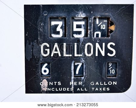 Old Rusty American Gas Pump Panel.