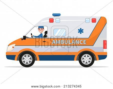 Vector illustration of a cartoon van medical car with the driver the man. Isolated white background. Ambulance vehicle. Flat style. Auto Emergency Assistance. Side view.