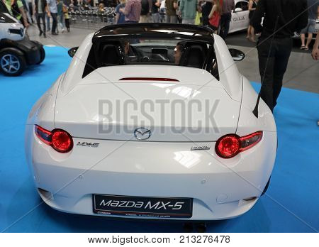 CRACOW POLAND - MAY 20 2017: Mazda MX-5 displayed at MOTO SHOW in Cracow Poland. Exhibitors present most interesting aspects of the automotive industry