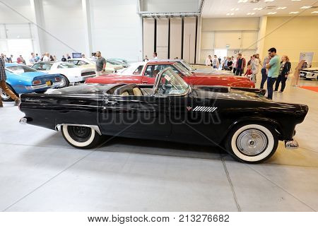 CRACOW POLAND - MAY 20 2017: Ford Thunderbird displayed at MOTO SHOW in Cracow Poland. Exhibitors present most interesting aspects of the automotive industry