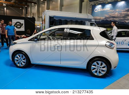 CRACOW POLAND - MAY 20 2017: Renault Zoe displayed at MOTO SHOW in Cracow Poland. Exhibitors present most interesting aspects of the automotive industry