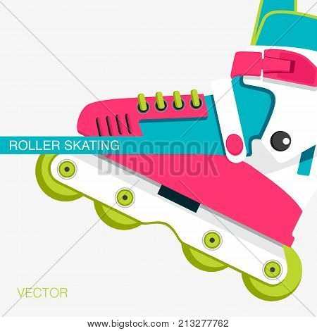 Bright roller skates for aggressive riding style. Cover or poster on the theme of roller-skating. Poster for sports shop or Club of fans of roller skates