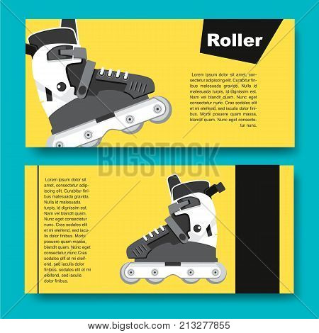 Black and white roller skates for aggressive riding style. Flyers on the theme of roller-skating. Flyers for sports shop or Club of fans of roller skates