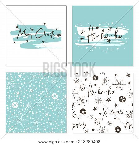 Set of creative Christmas cards with snowflakes, seamless patterns and hand drawn lettering. Merry Christmas. Ho-Ho-Ho. Template for greeting cards, scrapbooking, invitations and stickers. Includes holiday themed seamless patterns. Christmas lettering on