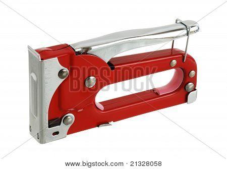 Red Carpenter Stapler In Safety Position