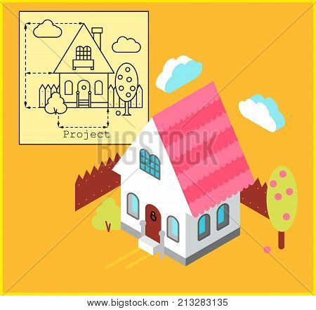 Cottage development construction design and planning concept. Drawing of the building in flat style and visualization of the building in isometric style