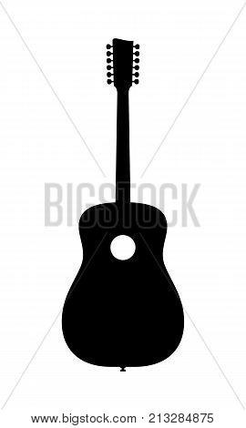 12 String Acoustic Guitar Silhouette. Vector Illustration Of Hand Drawn No Brand Imaginery Acoustic Guitar Silhouette. No Release needed no copyright infringrment.
