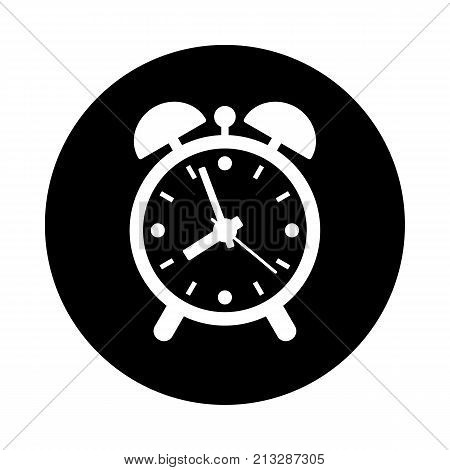 Alarm clock circle icon. Black round minimalist icon isolated on white background. Clock simple silhouette. Web site page and mobile app design vector element.