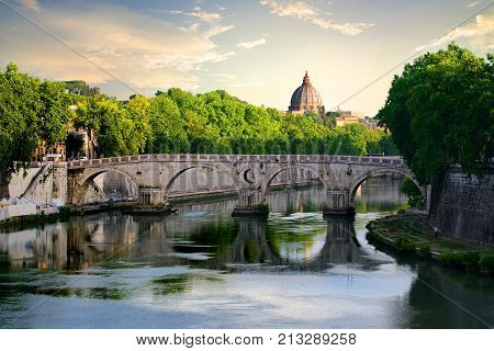 View on Bridge Sisto and river Tiber in Rome, Italy