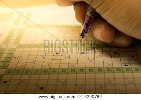 student doing exam in a midterm exam