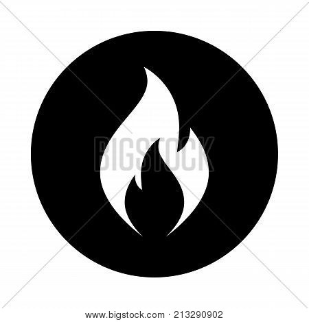 Fire flame circle icon. Black round minimalist icon isolated on white background. Fire flame simple silhouette. Web site page and mobile app design vector element.