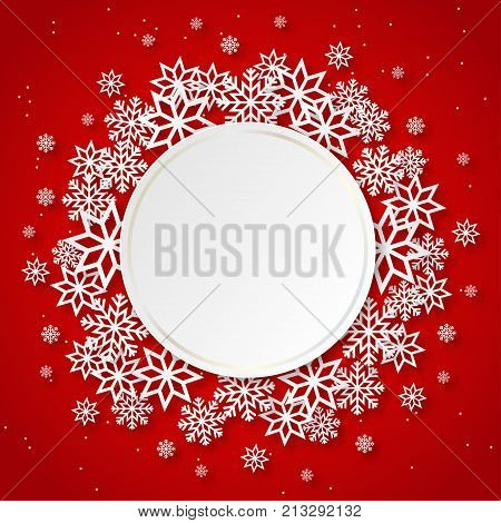 Vector illustration abstract Christmas Background with volumetric snowflakes and round frame. Winter paper art design. White 3D snowflakes with shadow. Xmas and new year card template