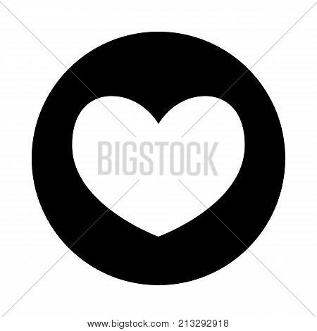 Heart icon. Black round icon isolated on white background. Round icon. Heart silhouette. Simple circle icon. Web site page and mobile app design element.