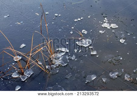 Chunks Of Ice On A Frozen Lake