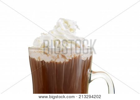 closeup hot chocolate with whipped cream on white