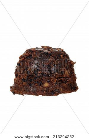 isolated christmas brandy pudding on white background
